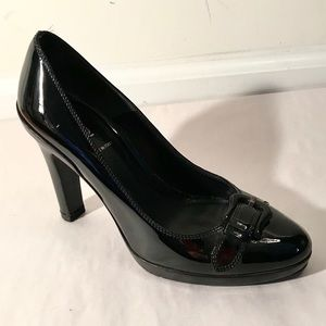 FENDI 37.5 7 Black Patent B Buckle Pumps